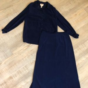 Talbots Button Down Shirt With Long Skirt